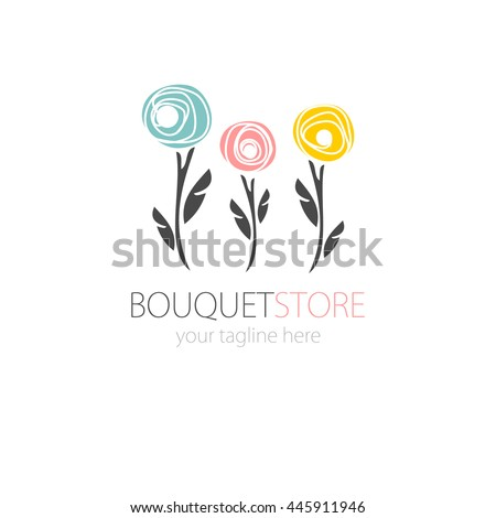Abstract Rose flower icon and logo in pastel colors. Can be used for flower store,  beauty salon, spa or yoga studio.Icon of three flowers. Flat style symbol