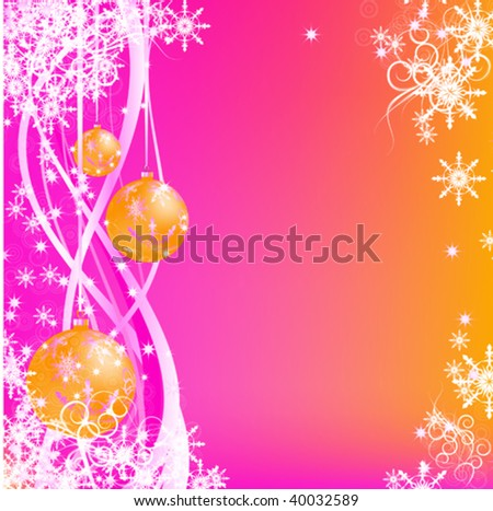 abstract rose snow background with wavy lines, balls and snowflakes