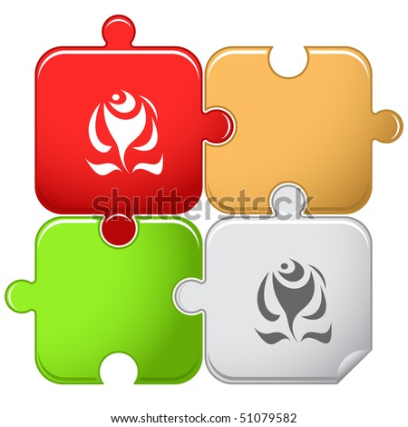 Abstract rose. Vector puzzle. - stock vector