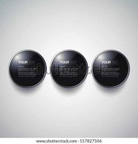 Abstract round black glass button set with metal frame design Eps 10 vector illustration