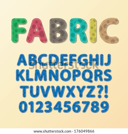 Abstract Rounded Fabric Font and Numbers, Eps 10 Vector, Editable for any Background, No Clipping Mask - stock vector