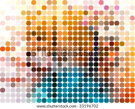abstract rounded pixel points mosaic background - stock vector