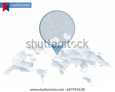 Abstract Rounded World Map Pinned Detailed Stock Vector 687995638
