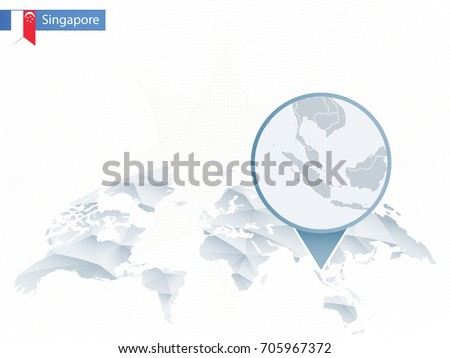Abstract rounded world map pinned detailed vectores en stock abstract rounded world map with pinned detailed singapore map vector illustration gumiabroncs Gallery