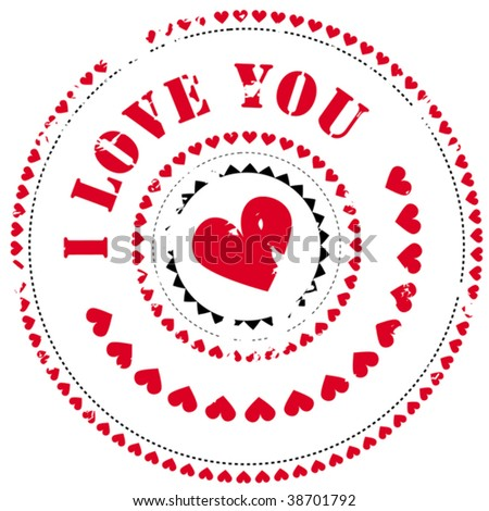 Abstract rubber stamp: I love you - stock vector
