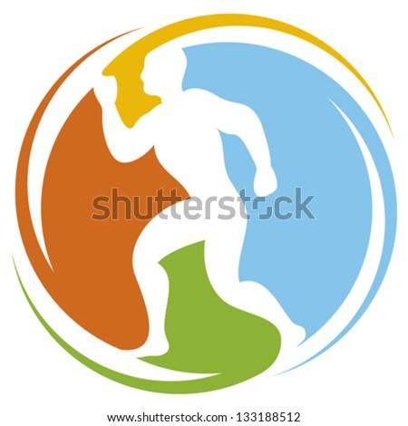 abstract runner - healthy lifestyle icon (marathon runner, running sportsman, athletic man running, healthy man running, health concept icon) - stock vector
