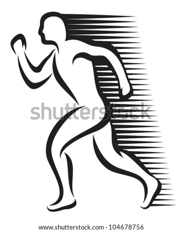 abstract runner (marathon runner, running sportsman, athletic man running) - stock vector