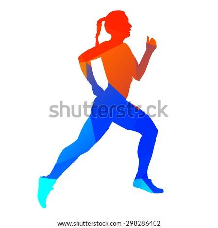 Abstract running woman - stock vector