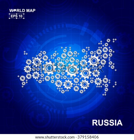 Abstract Russia gear map. Vector design