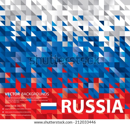 Abstract Russian Flag, Russia Background Texture (Vector Art) - stock vector