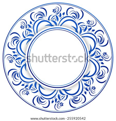 Abstract Russian Gzhel Round Frame in Blue, Copyspace - stock vector