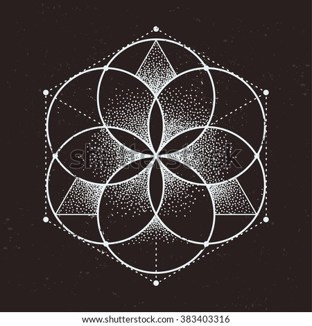 Abstract sacred geometry. Geometric symmetric pattern isolated on dark background. Vector illustration. - stock vector