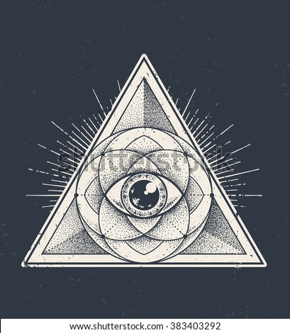 Abstract sacred geometry. Geometric triangle pattern on dark grunge background. Vector illustration.