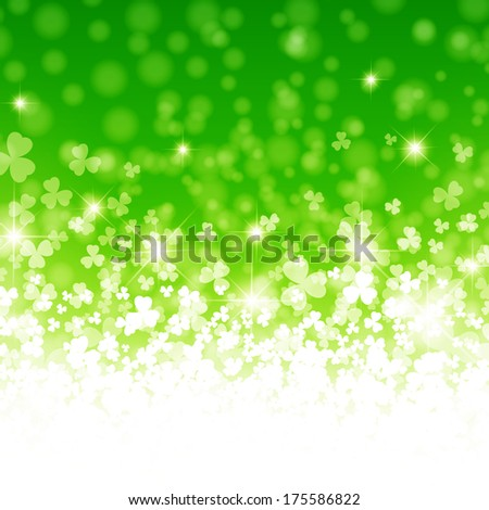 Abstract Saint Patrick Day Background With Clover in Green - stock vector