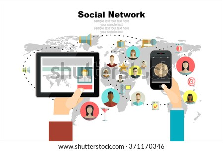 Abstract Scheme of social network.Concept for web banner and promotional material. - stock vector