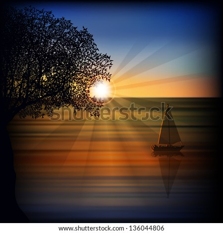 abstract sea background with sunrise yacht and tree - stock vector