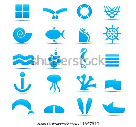 abstract sea design elements - stock vector