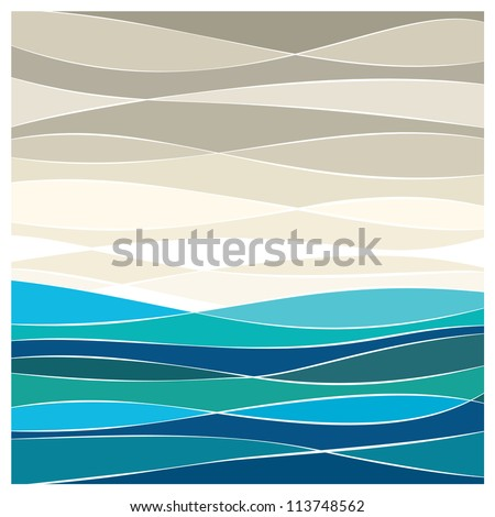 Abstract sea vector background - stock vector