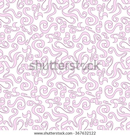 Abstract seamles pattern. Cute background filled with ribbons.