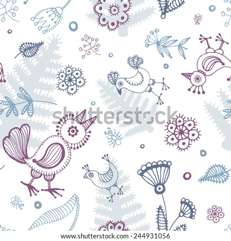 abstract seamless background, birds and flowers  hand drawn pattern - stock vector