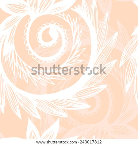 Abstract seamless background of floral motifs, vector illustration. - stock vector