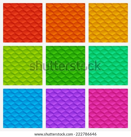 Abstract seamless background vector pattern texture made of glossy blocks, set of nine color versions - stock vector