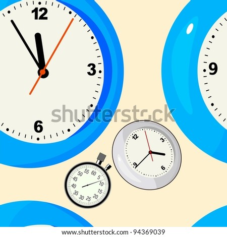 Abstract seamless background with clocks