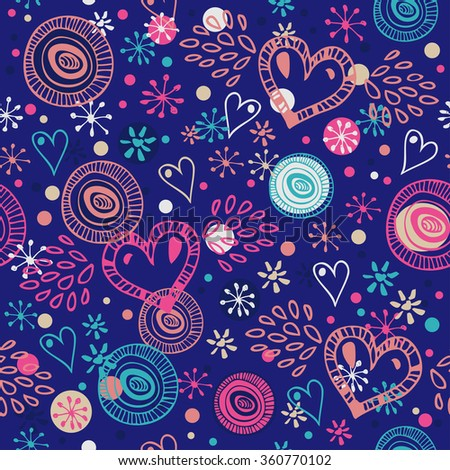 Abstract seamless background with hearts. Romantic scribble pattern. Abstract cute fabric texture - stock vector