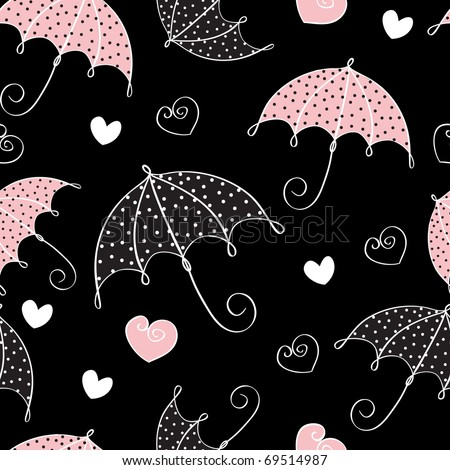 abstract seamless background with umbrella and hearts - stock vector