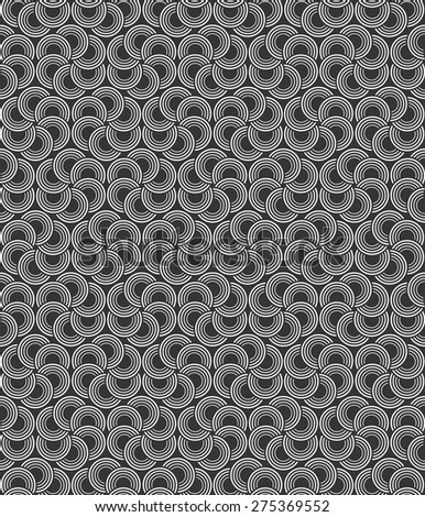 Abstract seamless black and white circles vector background. - stock vector