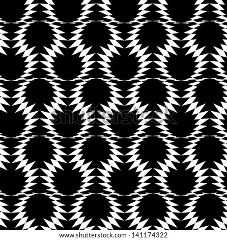 Abstract seamless black and white inverted vector pattern with loops of barbed wire. Easy to change the colors. - stock vector