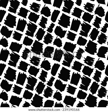 Abstract seamless black and white pattern of hand drawn rhombuses- vector illustration - stock vector