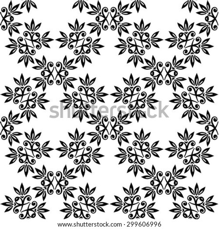 Abstract seamless black pattern on a white background.