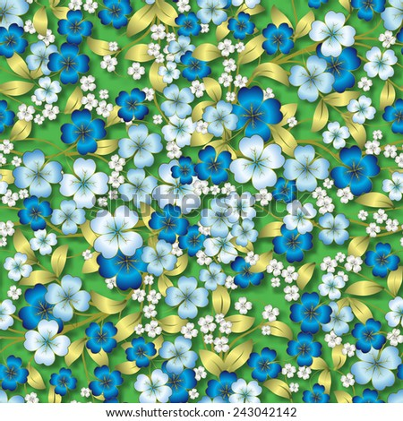 abstract seamless blue spring floral ornament on green background - stock vector