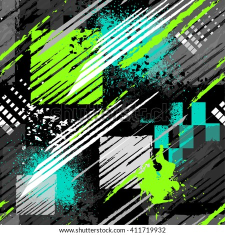 Abstract seamless chaotic pattern with urban geometric elements, scuffed, drops, triangles, spots, sprays Grunge neon texture background. Wallpaper for boys and girls - stock vector