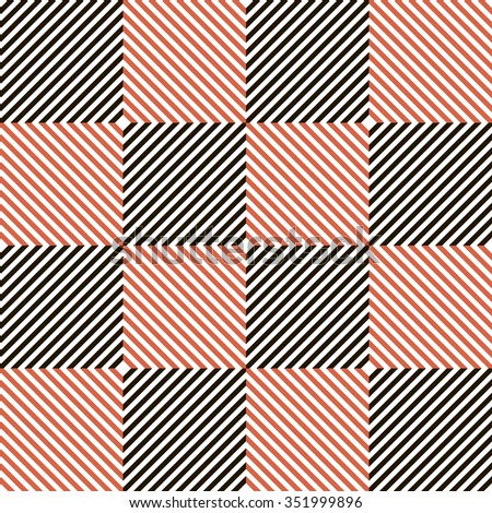 Abstract seamless checkered pattern in black, white and red colors. Diagonal parallel stripes in squares. Vector illustration for various creative projects - stock vector