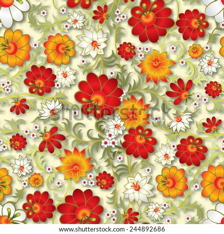 abstract seamless floral ornament and shadow on beige background - stock vector