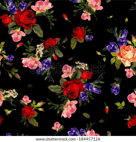 Abstract seamless floral pattern with of  red roses and pink and blue freesia on black background. Vector illustration. - stock vector