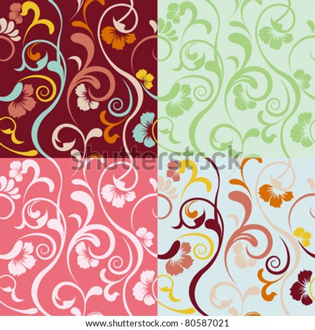 Abstract seamless floral patterns set. Illustration vector.
