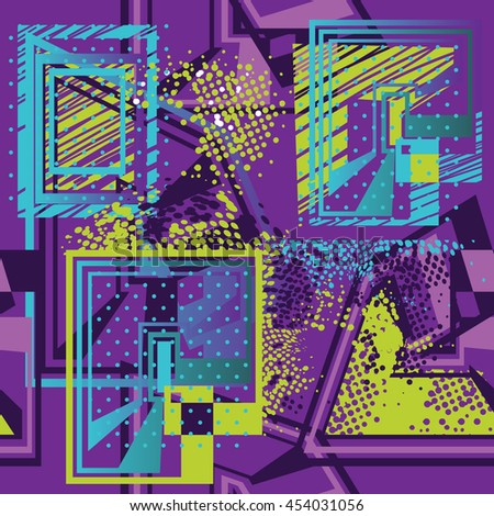 Abstract seamless geometric pattern in bright purple, green, yellow, blue colors. Grunge urban chaotic background for boys and girls, fabric, textile. Creative modern original design wallpaper - stock vector