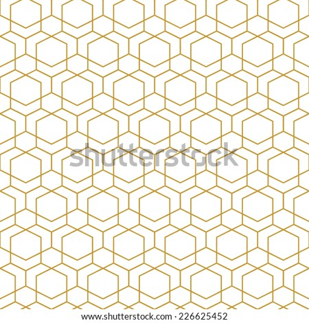 Abstract seamless geometric pattern. Monochrome white wallpaper.Geometry gold grid texture.Vintage style texture.Vector illustration - stock vector