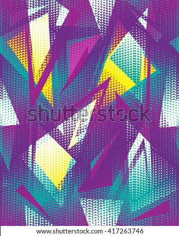 Abstract seamless geometric pattern. Motion and drive wallpaper. Colorful background for boys and girls, fashion and sport clothes, backpacks, bags. Funny chaotic backdrop. - stock vector