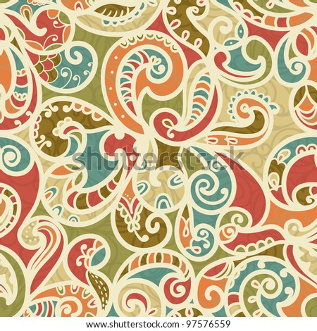 Abstract Seamless Hand-Drawn Paisley Pattern With Shadows - stock vector