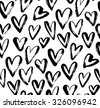 Abstract seamless heart pattern. Ink illustration. Black and white. - stock vector