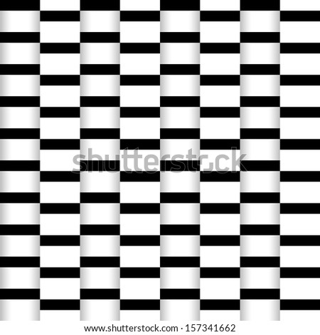 Abstract seamless illusion paper stripes monochrome pattern with shadow . Vector illustration. Black and white colors. Modern stylish texture. Repeating background. - stock vector