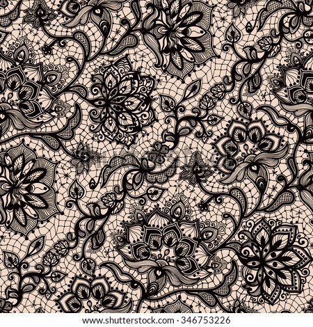 Abstract seamless lace pattern with flowers and butterflies. Infinitely wallpaper, decoration design, lingerie and jewelry. Invitation cards,wallpaper tile ornament. - stock vector