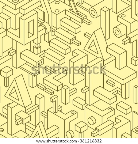 Abstract Seamless Modern Art Pattern for Textile Design. Mix of Monochrome Straight Lines and Simple 3D Objects on Yellow. Vector Illustration in Constructivism Style. - stock vector