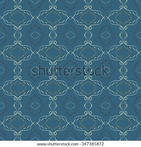 Abstract seamless pattern. A dark blue background. Patterned Wallpaper. Curls and fancy shapes. Vector illustration. - stock vector