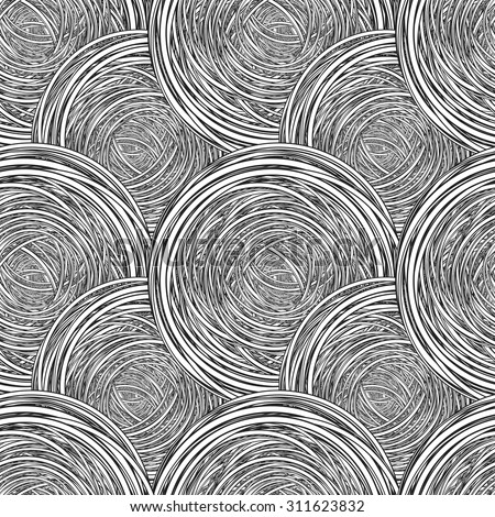 Abstract Seamless Pattern. Black and white tangled clew. Vector Illustration. EPS 10 - stock vector