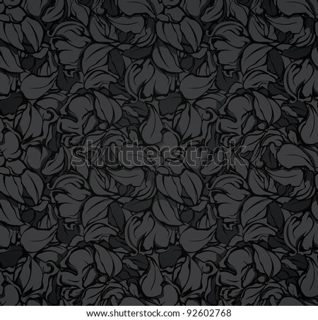 Abstract seamless pattern, black vector - stock vector